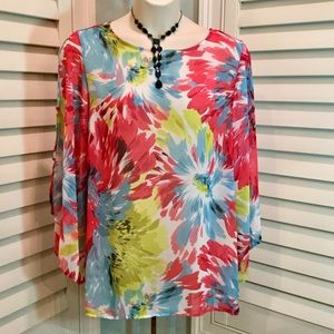 Susan Graver Sheer Floral Tunic, XL, Like New
